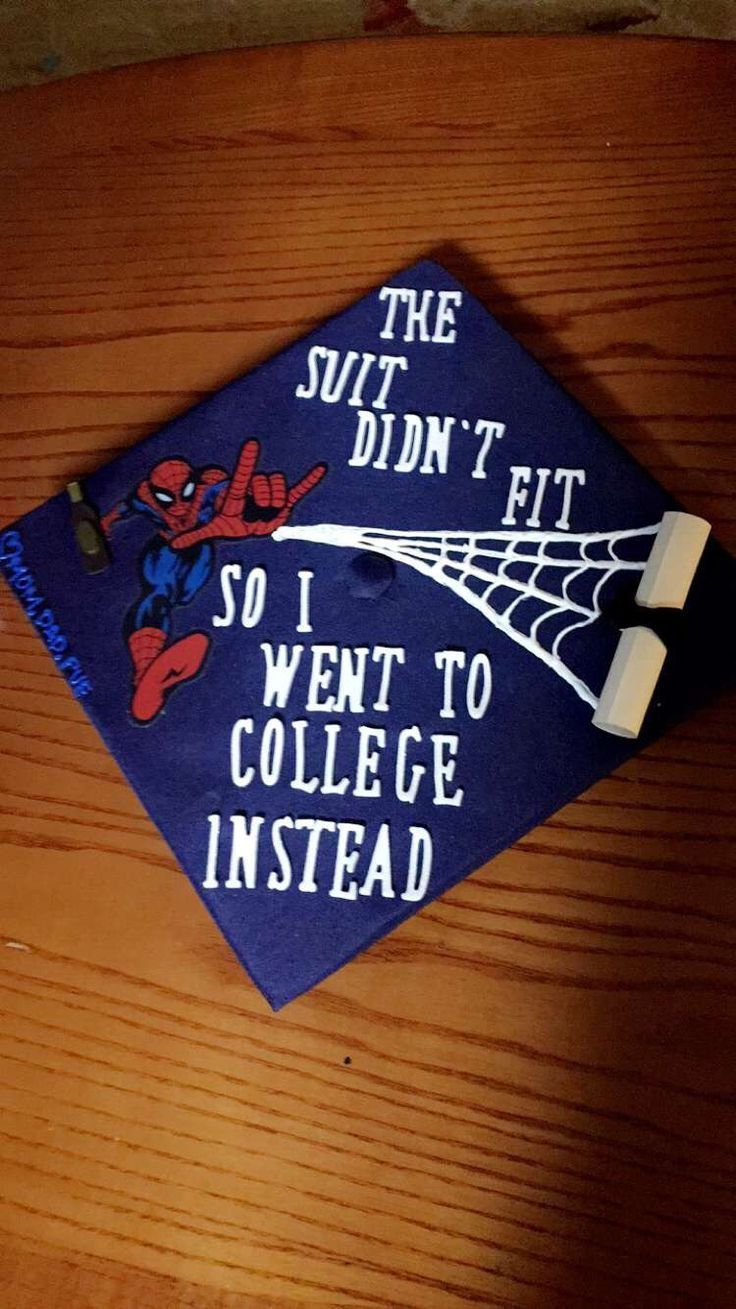 spiderman graduation cap design. The suit didn't fit so I went to college instead // follow us Motivation2Study for daily inspiration - #college #desi...