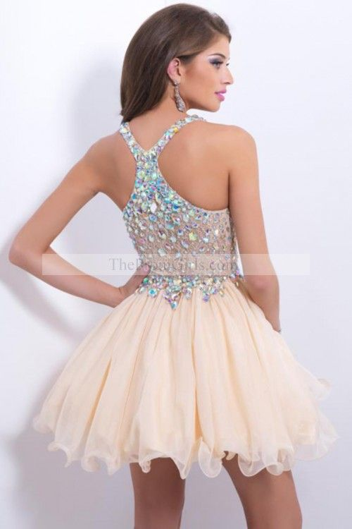 2015 Delicate Short/Mini Halter A Line/Princess Prom Dresses LaceChiffon Beadd Bodice Sexy homecoming dress, 2015 homecoming dress