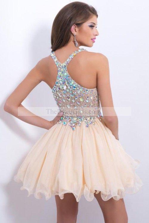 2015 Delicate Short/Mini Halter A Line/Princess Prom Dresses LaceChiffon Beadd Bodice Sexy homecoming dress, 2015 homecoming dress
