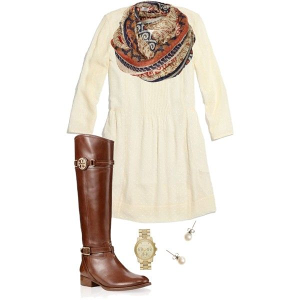 White dress, scarf, riding boots, watch and stud earrings. Would be cute with tights for winter!
