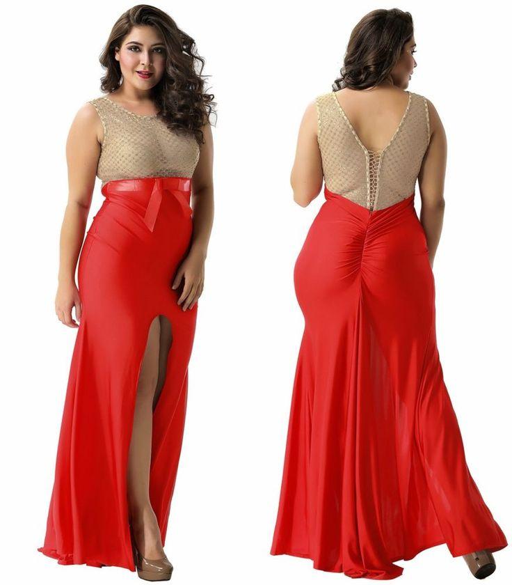 Plus Size Elegant Classy Gold Crochet Maxi Full Length Formal Evening Dress M-2X  | eBay