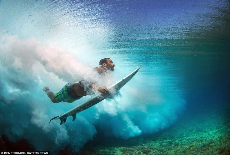 Photographer Ben Thouard used the surfers on the beaches of Tahiti in French Polynesia to give us a different perspective - from the bottom up