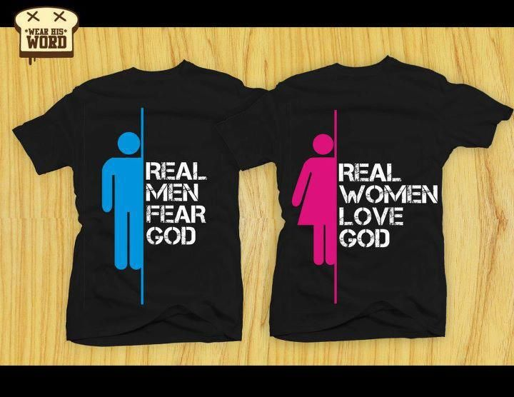 Real men and women fear god christian quotes and bible Bible t shirt quotes