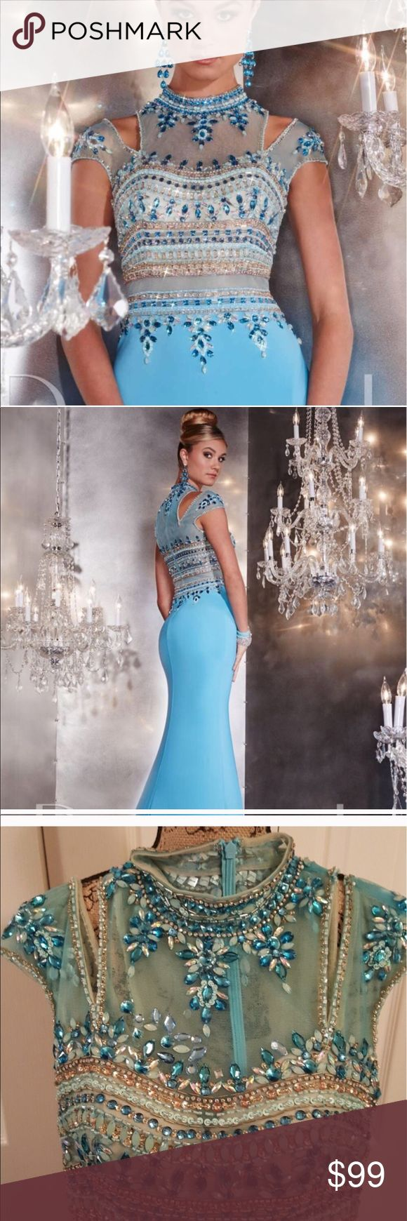 Panoply dress style 14747 aqua size 6 Brand new with TAGS beautiful beaded work aqua gown. Panoply Dresses Prom