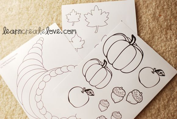 cornucopia patterns for preschool | Download Shape Sheets Here : { Cornucopia | Food | Leaves }