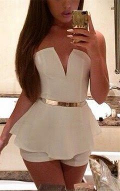 #white #gold belt #outfit #jumpsuit #shorts #summer #fall #2014 #fashion PURCHASE THIS ITEM ON MY BLOG!!! | check out my fashion/beauty blog>>> fashionsheriffjennbee.blogspot.com and follow me on pinterest @jennbee22