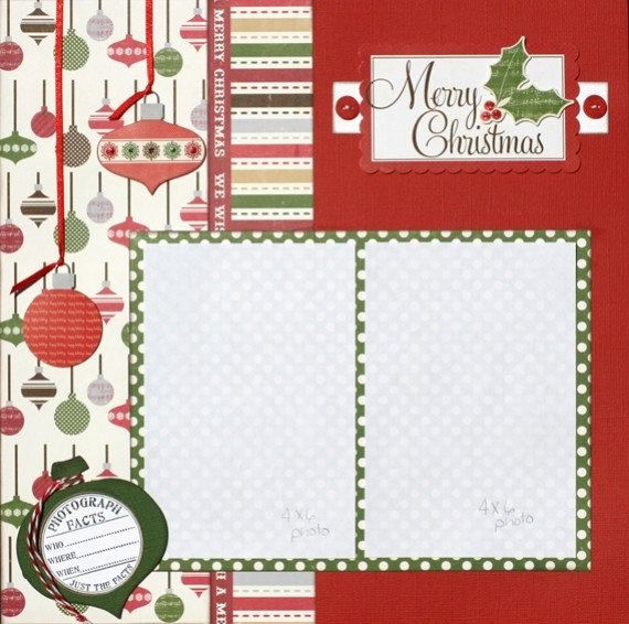 Premade Scrapbook Page 12 x 12 Christmas  Layout - Merry Christmas