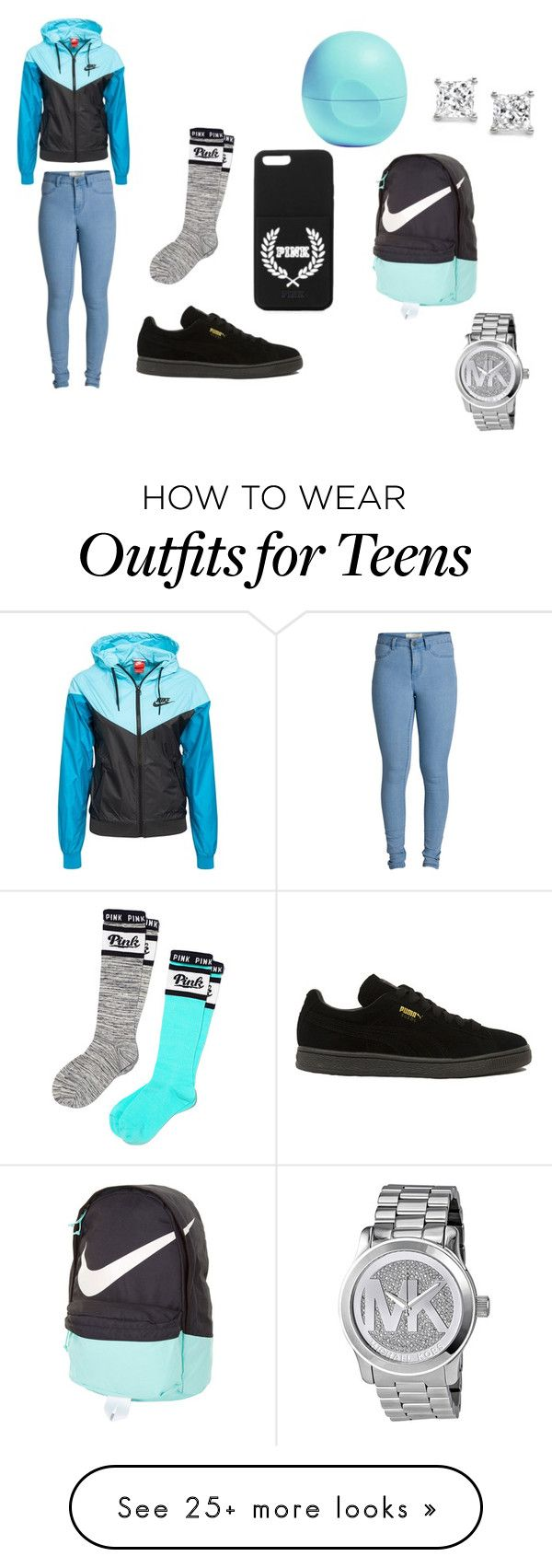 """""""teens only"""" by lordgirlky on Polyvore featuring NIKE, Puma, Pieces, Victoria's Secret PINK, Eos, Michael Kors, women's clothing, women's fashion, women and female"""