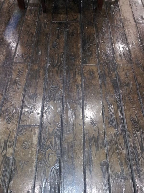 stamped concrete floor looks like wood by hallie. Black Bedroom Furniture Sets. Home Design Ideas