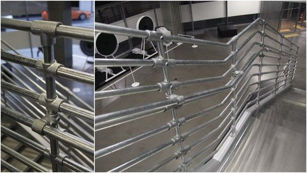 Pipe Railing Closeup - Made with size 6 Kee Klamp pipe fittings.