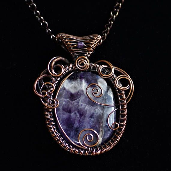 Banded Amethyst & Woven Antiqued Copper Pendant.