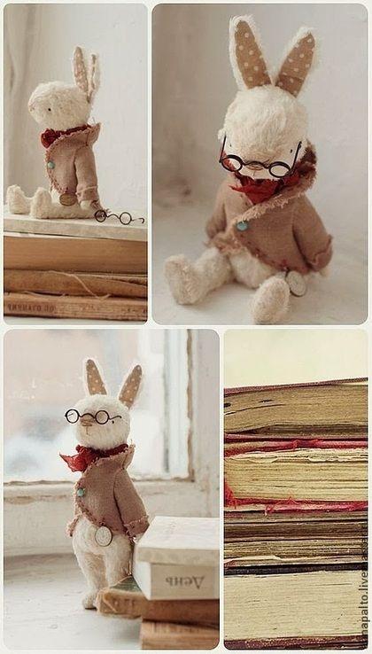 """Мишки Тедди ручной работы. Ярмарка Мастеров - ручная работа Тедди зайка """"Робби-библиотекарь"""". Handmade."""