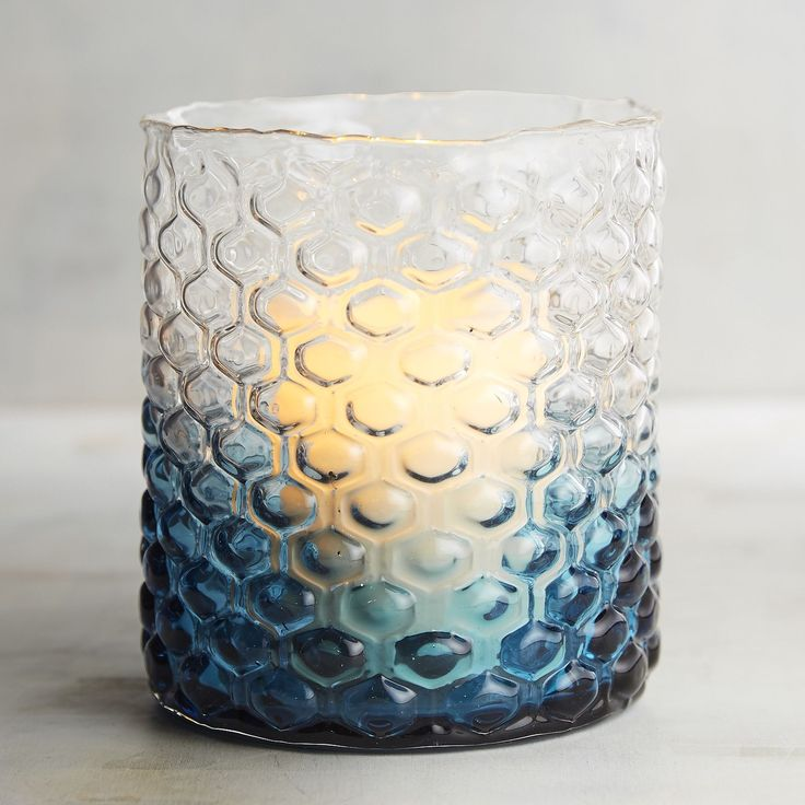 Blue Ombre Glass Hurricane Candle Holder | Pier 1 Imports