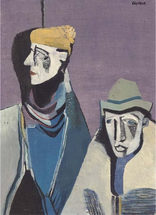 Robert Colquhoun (Scottish, 1914-1962), Two Irishmen, 1946. Oil on canvas, 22½ x 16¼ in.