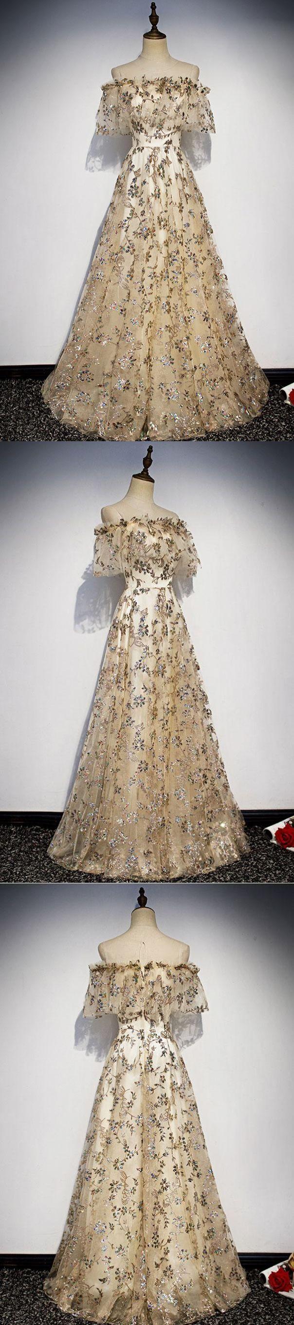 Lace Prom Dresses Scoop Floor-length Aline Long Tulle Gorgeous Prom Dress JKL1632 - Aida