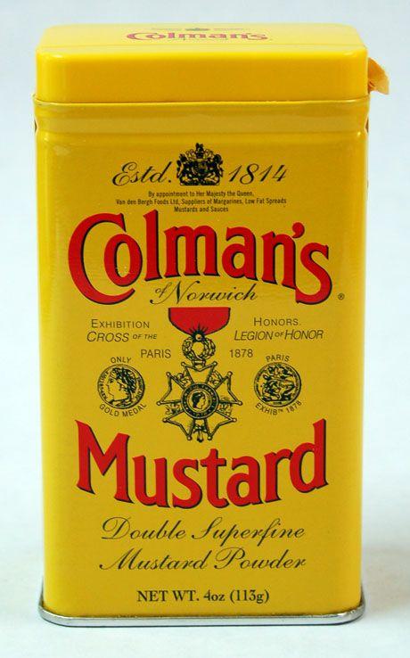 Colman's Mustard -  use of color, historic mood: Perfect Pantries, Gourmet Food, Powder Mustard, Mustard Recipe, Dry Mustard, Colman Dry, Things Stuff, Mustard Powder, Colman Mustard