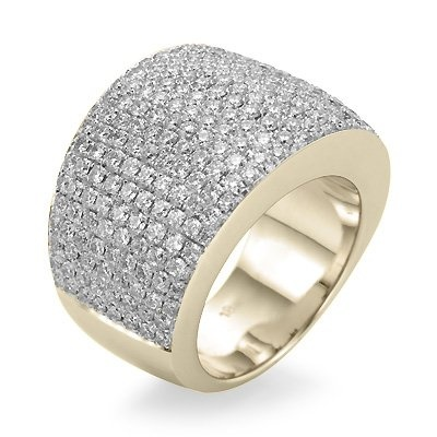 Wide yellow gold diamond anniversary ring featuring pave setting of round diamonds totaling 2.30 carat.