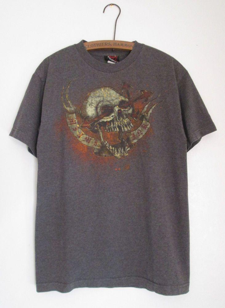 Miami Ink Scull Tattoo Cotton Blend T-Shirt Medium Dark Gray #MiamiInk #GraphicTee