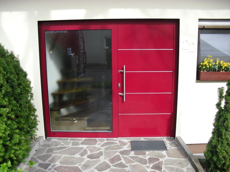Aluminium Haustüre In Rot, Austausch Ohne Schäden · Rote Türen