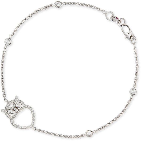 Roberto Coin 18k White Gold Diamond Owl Charm Bracelet (€1.410) ❤ liked on Polyvore featuring jewelry, bracelets, white gold, owl charm bracelet, owl charm, charm bracelet, diamond jewelry and charm bangle