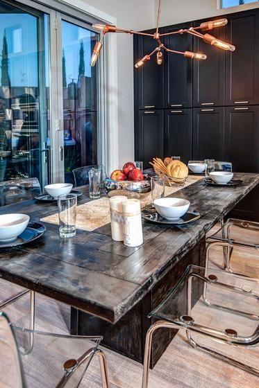 Dark Wood Cabinets With Wood Flooring Dark Wood Dining