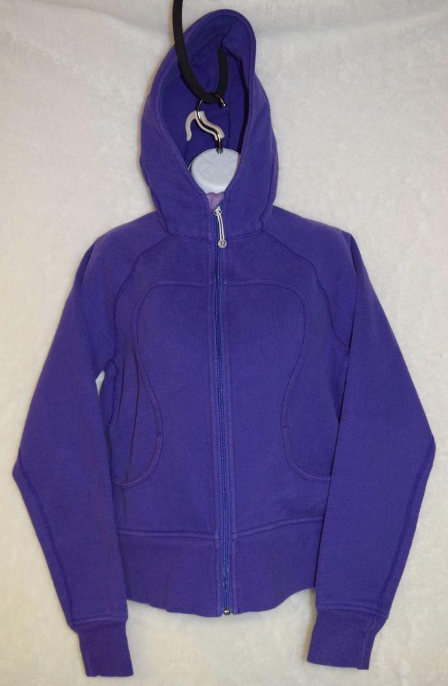 Sz 10 Lg Lululemon Athletica Purple Zip Up Hoodie Hooded Sweatshirt Scuba  #Lululemon #Hoodie