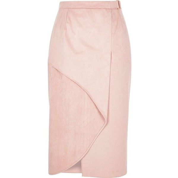 River Island Light pink faux suede wrap pencil skirt ($50) ❤ liked on Polyvore featuring skirts, mid calf pencil skirt, light pink skirt, tube skirt, pink midi skirt and faux-leather pencil skirts