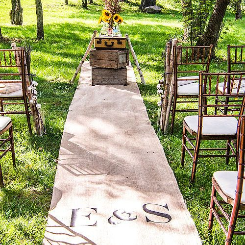 Let this rustic and charming personalized burlap aisle runner lead you to a happy future. The elegant design is part of the Equestrian Collection and also coordinates beautifully with other style themes. Available for purchase online at http://madelinesweddings.weddingstar.com/product/personalized-burlap-aisle-runner-with-equestrian-monogram