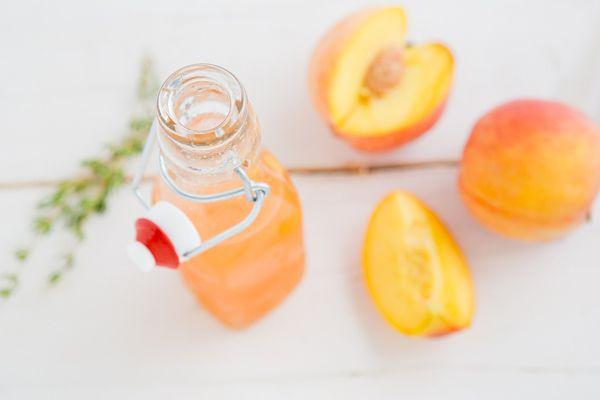 Peach Thyme Syrup for Sodas, Iced Tea, & Lemonade | Oh My Veggies