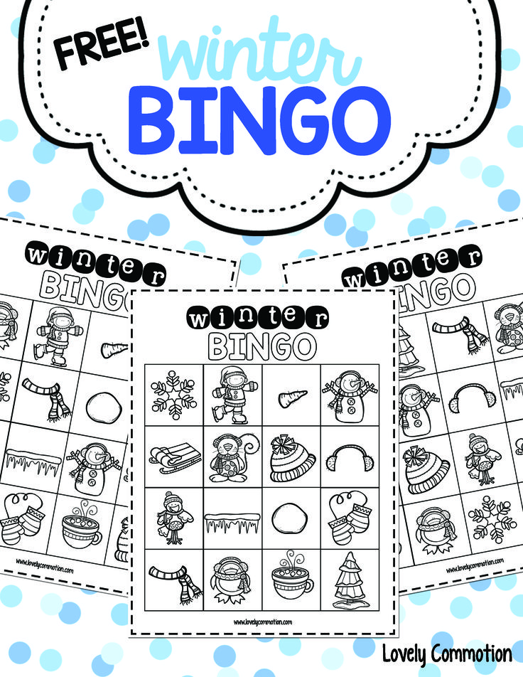 Free winter bingo boards, perfect for preschool holiday parties!