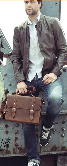 #Vintage Slim #Mens Notebook Portfolio #Leather Bag - Dark Brown