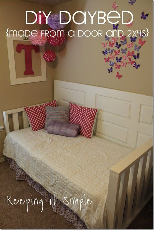 DIY Daybed Made From Old Door #DIYFurniture keepingitsimplecrafts.com