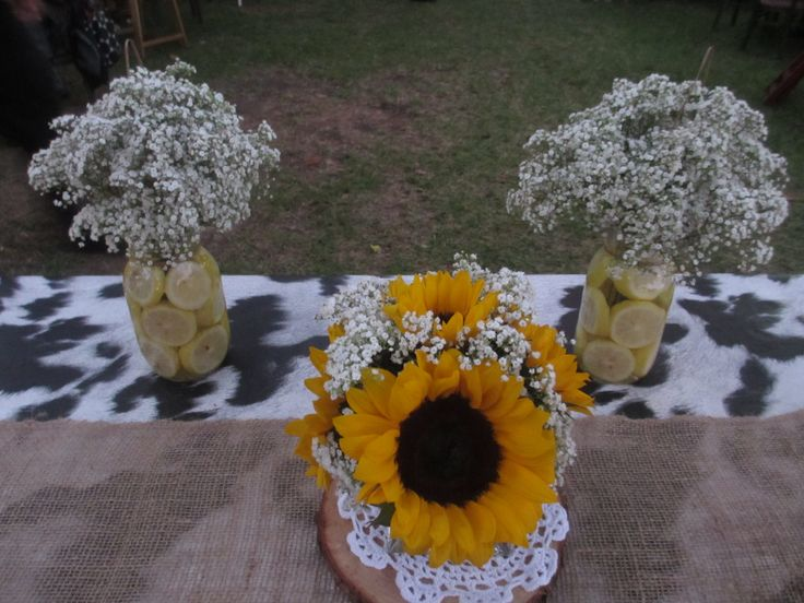 Table Scape With Cow Print Burlap Sunflowers And Baby S