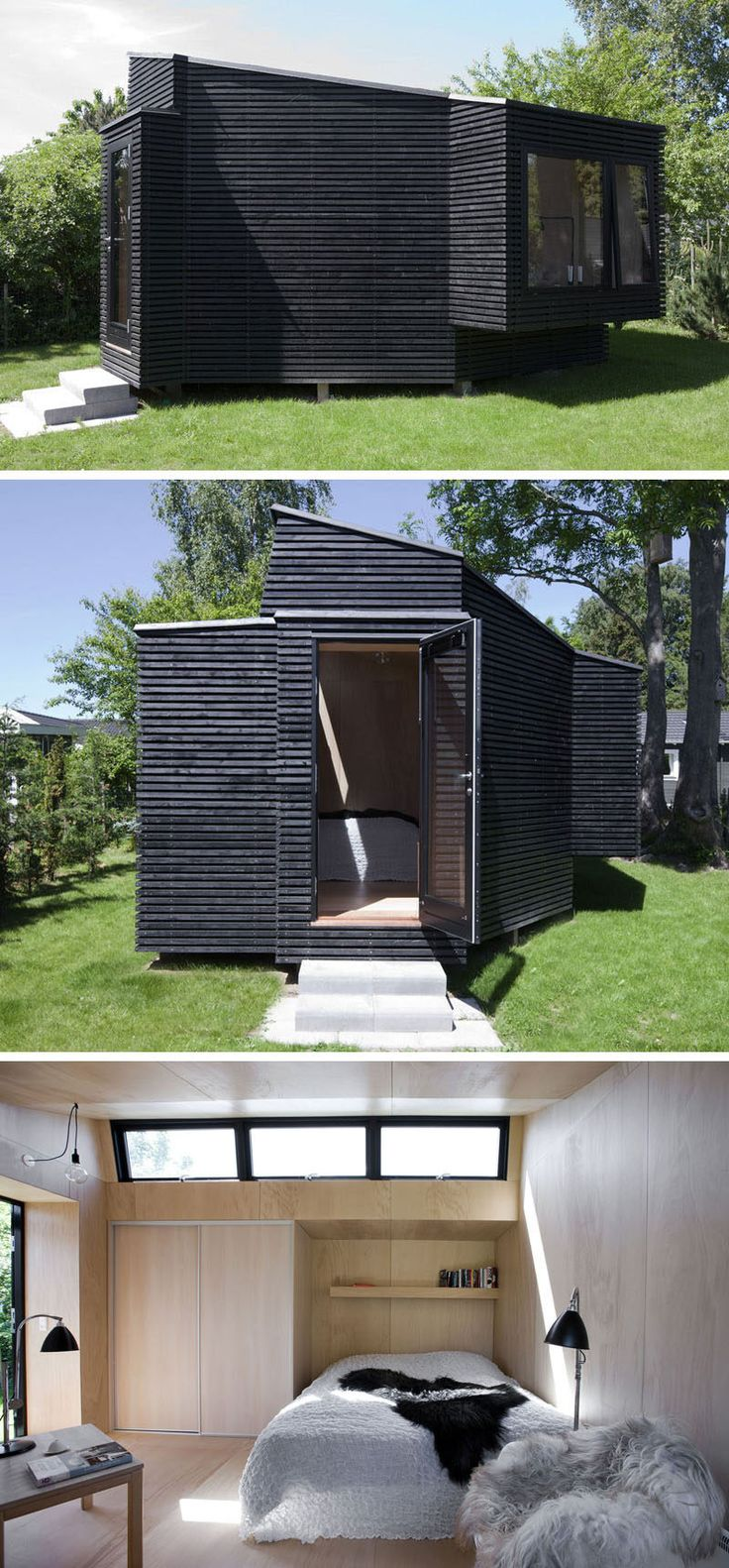 Clad in black timber, this backyard guest house is just the right size for a visiting friend or family member, and features a number of windows that help keep the tiny home naturally bright and ventilated, as well as some closet space for people who are staying a little bit longer.