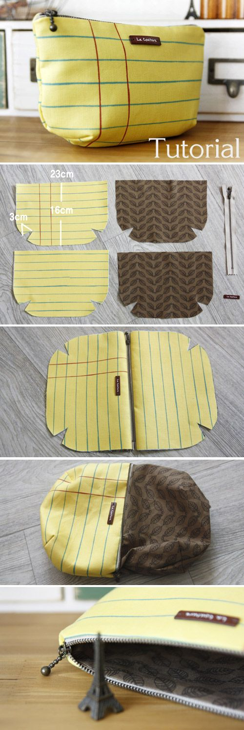 Lined Zippered Pouch / Makeup Bag DIY Pattern & Tutorial. www.handmadiya.co...
