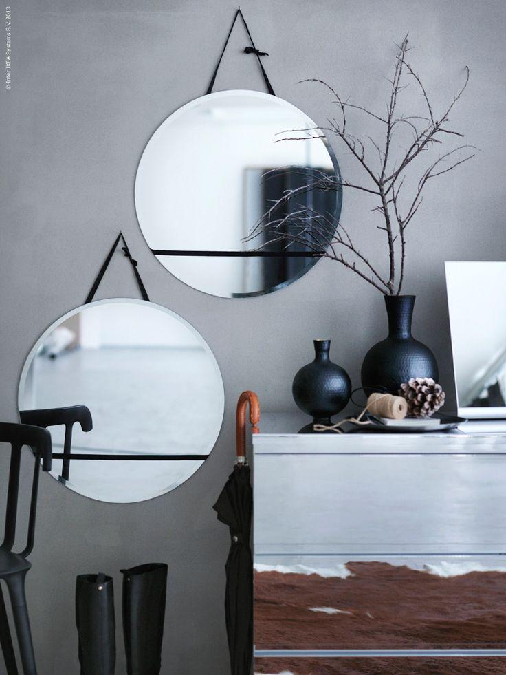 KOLJA spegel (upphängd i svarta band), MALM byrå (spegelklädd)