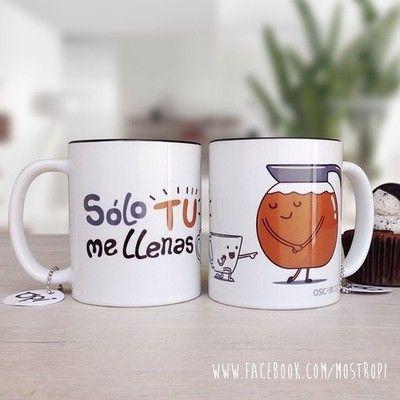 """MUG """"SOLO TU ME LLENAS""""  #mug #oscarospina #ilustración #dibujo #diseño #coffee"""