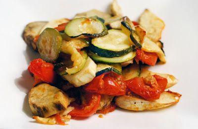 Vega: Zoete aardappel (bataat) met courgette en tomaat uit de oven