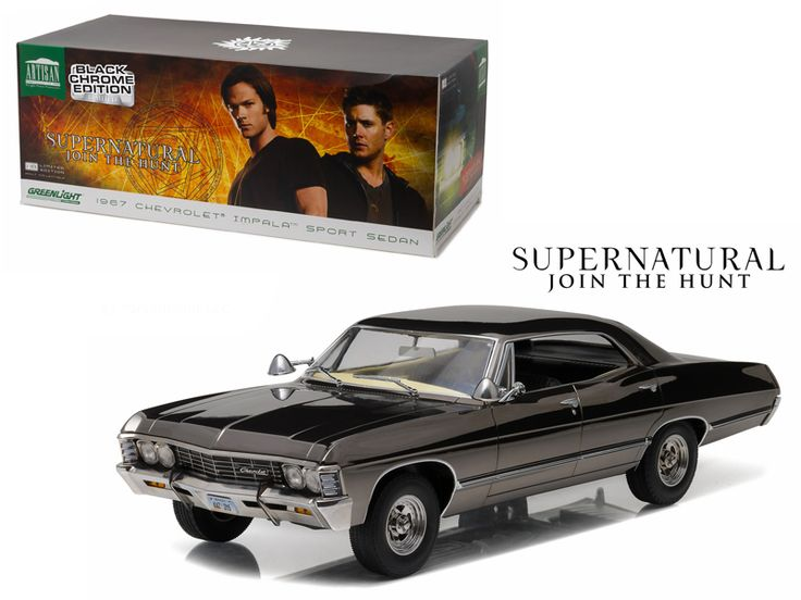 1967 Chevrolet Impala Sport Sedan Black Chrome Edition Supernatural (TV Series 2005 ) 1/18 Diecast Model Car by Greenlight - Brand new 1:18 scale diecast model of 1967 Chevrolet Impala Sport Sedan Black Chrome Edition Supernatural (TV Series 2005 ) die cast model car by Greenlight. Authentic TV Series decoration. Themed packaging. Brand new box. Rubber tires. This item does not have any openings. Made of diecast with some plastic parts. Detailed interior, exterior. Dimensions approximately…