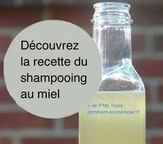 Découvrez la recette du shampooing au miel maison 1 cuillère à soupe de miel non pasteurisé. - 3 cuillères à soupe d'eau filtrée. - facultatif : quelques gouttes d'huiles essentielles de votre choix.  Découvrez l'astuce ici : http://www.comment-economiser.fr/recette-shampoing-miel-maison.html