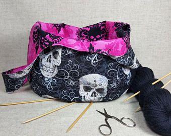 Sacchetto di nodo, teschio e ossa incrociate, Halloween, trasformando la borsa, maglia, glitter, nero rosa,