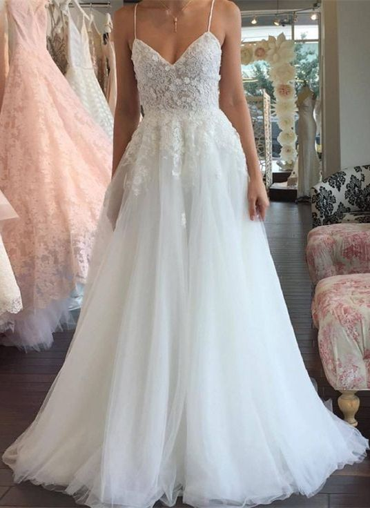 affordable wedding dresses with appliques, spaghetti straps dream wedding dresses, a line tulle wedding dresses   #wedding #weddingdress