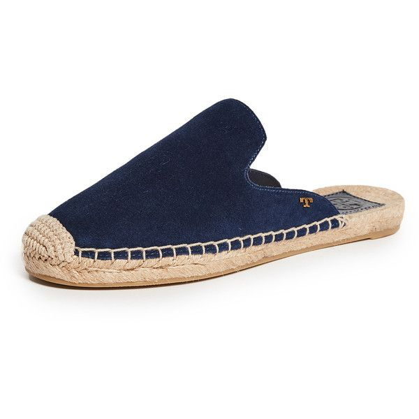 Tory Burch Max Espadrille Slides ($200) ❤ liked on Polyvore featuring shoes, sandals, royal navy, flat shoes, navy blue flat sandals, navy flat sandals, flat sandals and navy espadrilles