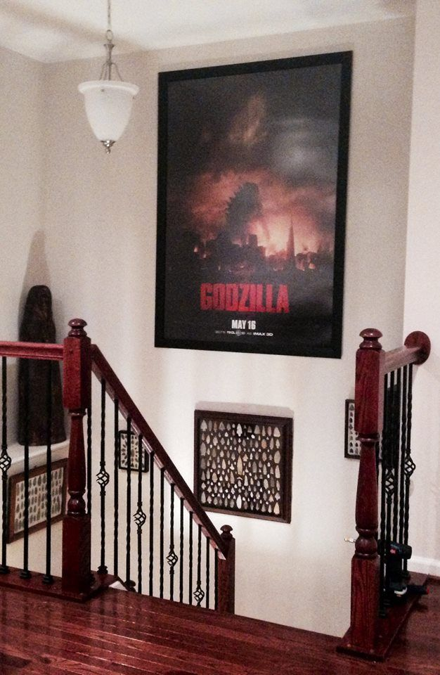 "Here's a picture from our customer and friend Joe of his bus shelter poster of Godzilla measuring 48"" x 70"" in our Wide Border Cinema Style Frame. Thanks Joe for Sharing!!!"