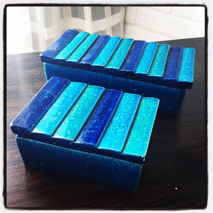 Bitossi cigarette boxes. Mid Century Modern. Aldo Londi.