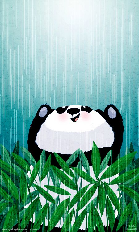 "Panda ""cloudburst"" by Nidhi Chanani. Love her artwork especially her super #cute animal ones! @nidhi chanani"