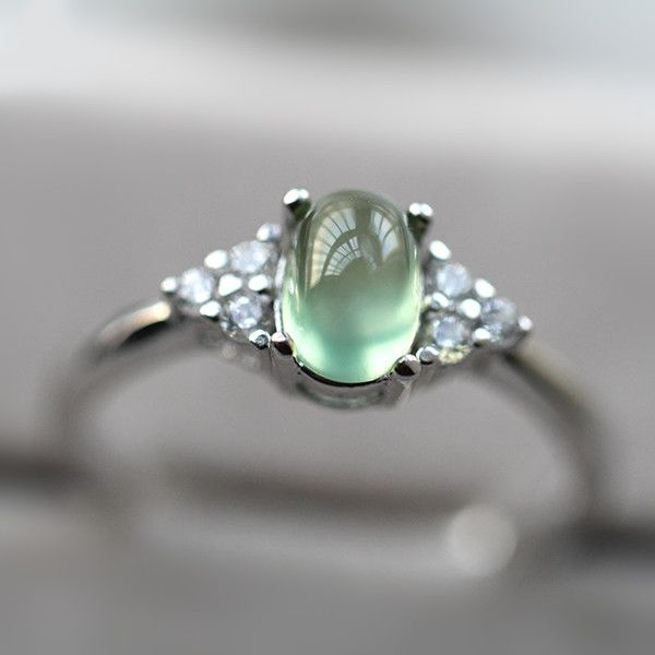 2017 new simple design 925 silver prehnite promise ring 100742 7300 jewelsin - Ring Design Ideas