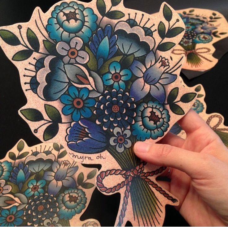 Traditional flower tattoo flash.  Myra Oh Florida