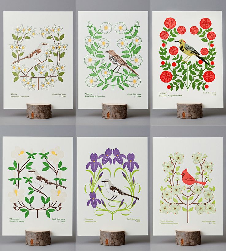 Southeast Birds & Blooms Letterpress Prints by Dutch Door Press.