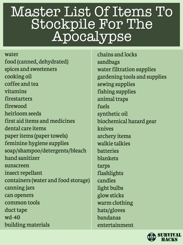 Master List Of Items To Stockpile For The Apocalypse ►► http://off-grid.info/blog/master-list-of-items-to-stockpile-for-the-apocalypse/?i=p